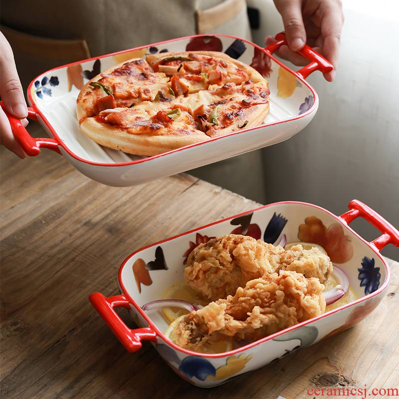 Nordic ins pan weibo anti wind hot handle special household ceramics baked cheese baked bread and butter dish dish dish
