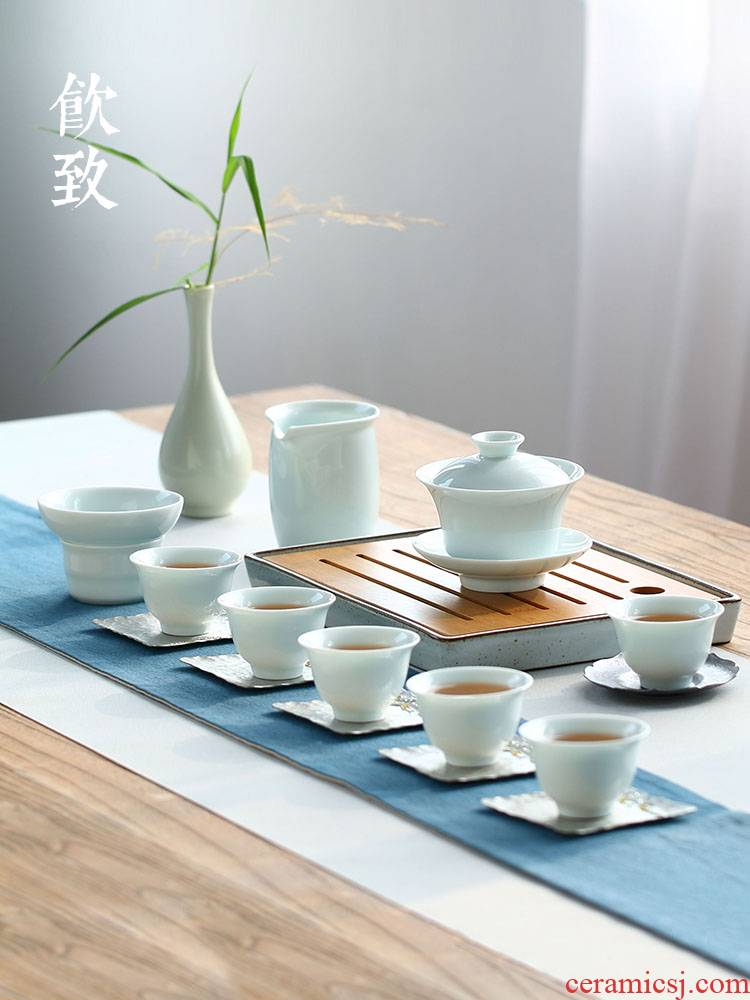 Ultimately responds to celadon tea set home sitting room tea art small tureen the whole set of ceramic cups kung fu tea gift box