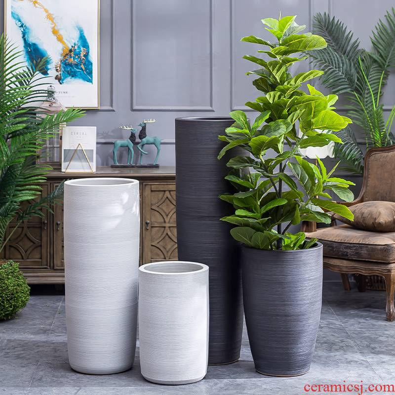 Big flowerpot modern Scandinavian simple villa interior decoration vase furnishing articles new ceramic basin of large land the plants