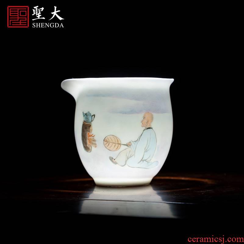 Holy big new ceramic fair keller hand - made color Fried tea character all hand jingdezhen tea accessories fair keller of tea sea