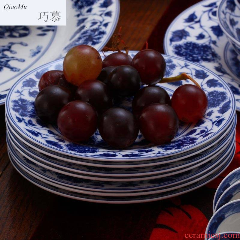 Qiao mu JYD jingdezhen porcelain ipads plate dishes glair pottery Chinese 8 inches deep dish plates