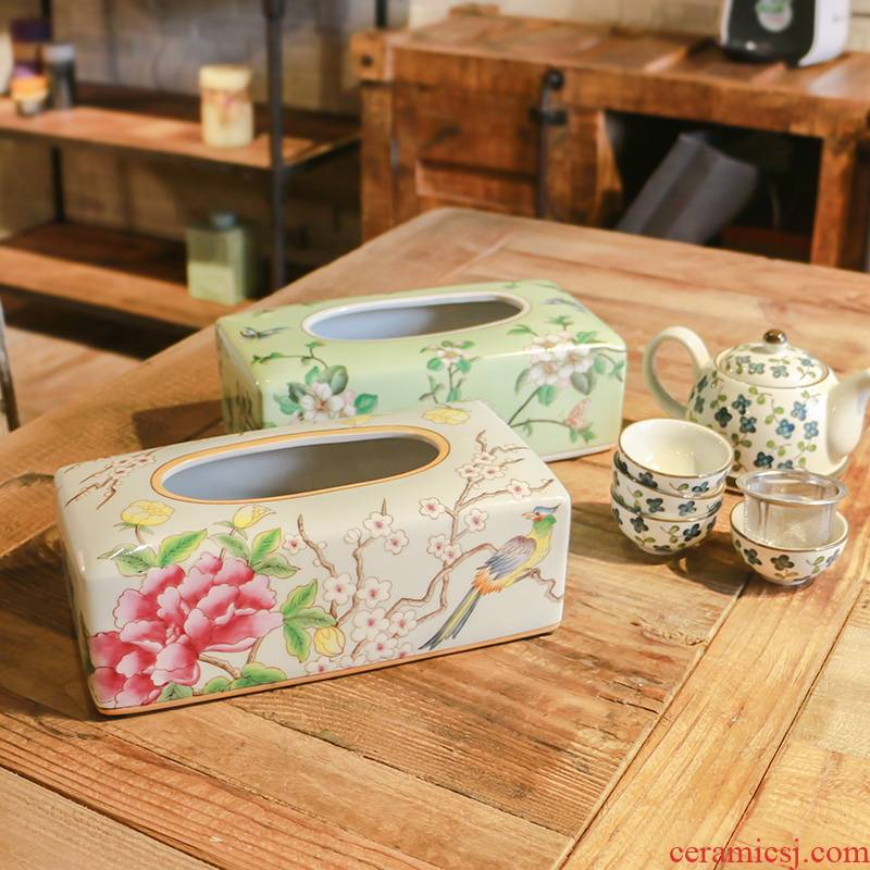 American country powder enamel household adornment series ceramic hand - made paper towel box of fruit tray table table furnishing articles