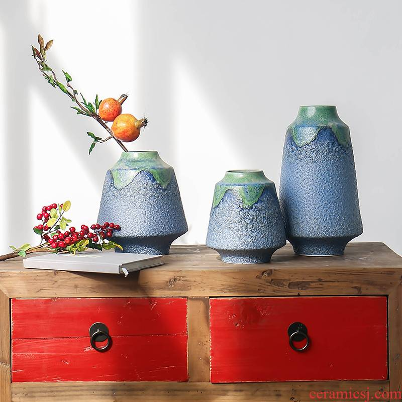 New Chinese style variable glaze ceramic vase three - piece flower arranging flower implement of modern rural is suing wind household furnishing articles