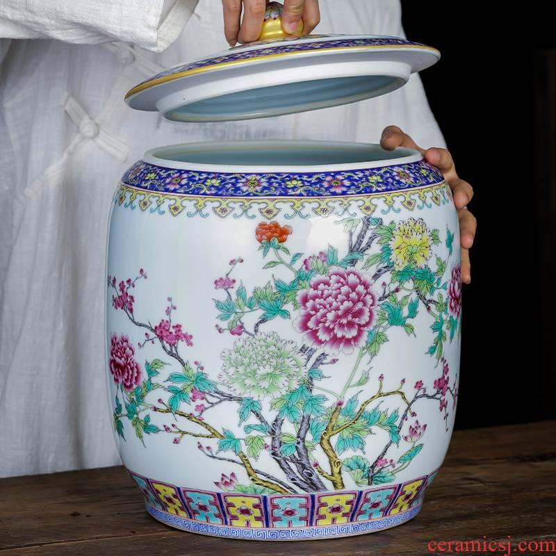 Jingdezhen porcelain ceramic powder enamel caddy fixings large loading seal pot home 10 5 jins of puer tea cake storage tanks