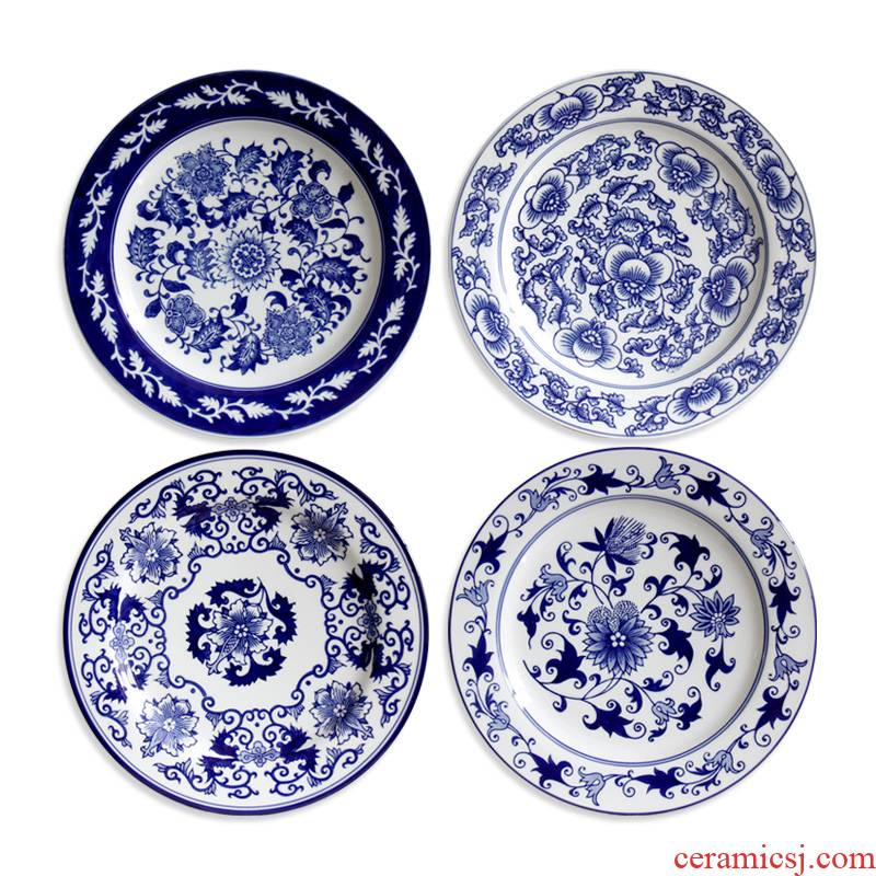 Jingdezhen blue and white hang dish European Mediterranean blue and white porcelain ceramic decoration plate plate household decoration furnishing articles