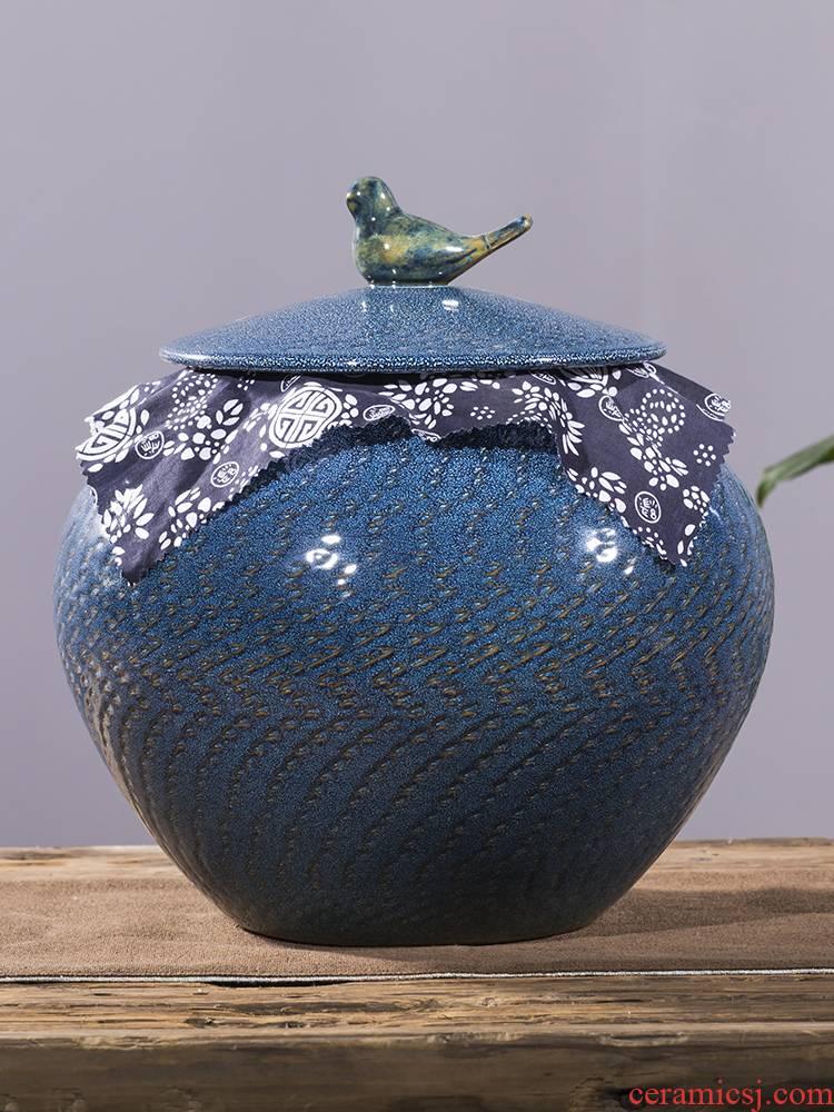 Ceramics pu 'er tea pot large seal save tea powder POTS storage tank 5 jins of waking home tea tea urn storage tanks