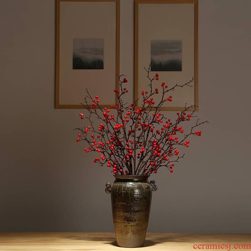 Modern classical jingdezhen ceramics vase sitting room porch dried flower flower arranging Chinese simulation flower adornment ornament
