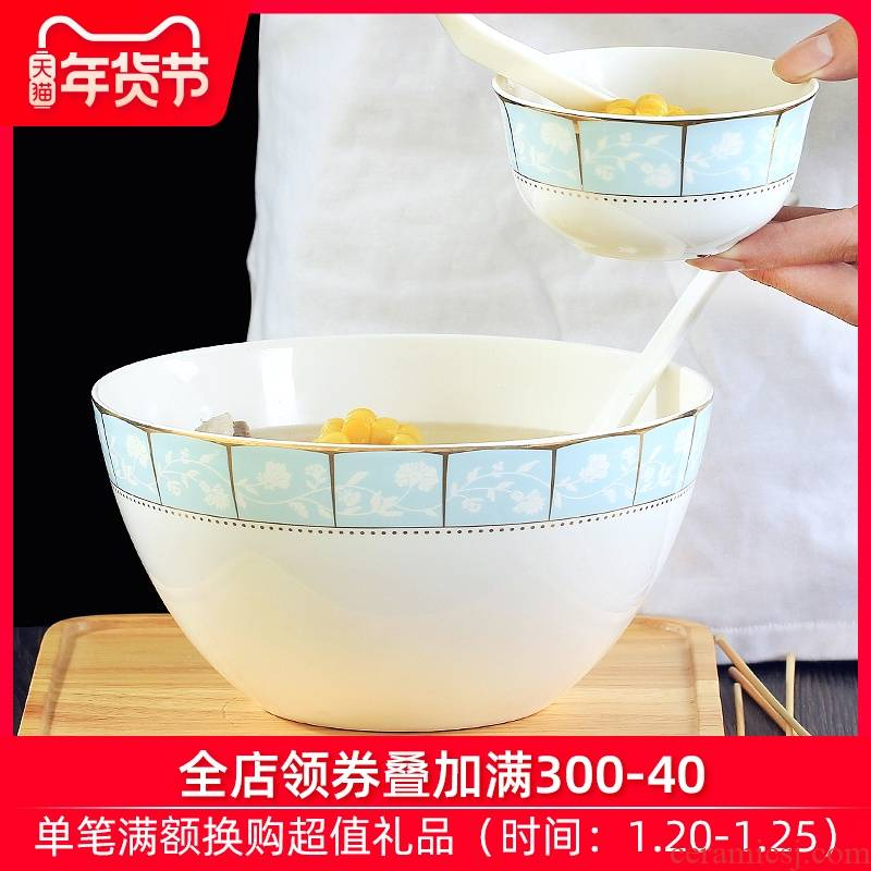 Jingdezhen ceramic household large soup bowl eight inches pull rainbow such use ipads China creative contracted style tableware to eat bread and butter