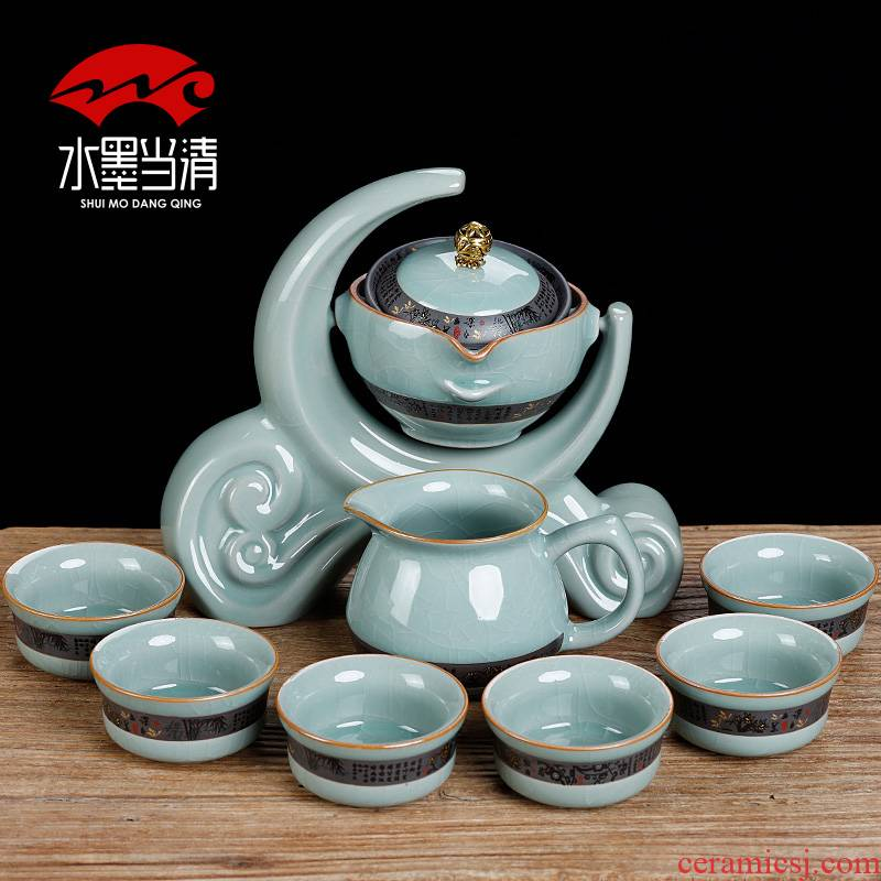 Automatically lazy blunt tea tea set office of elder brother up with ceramic creative household kung fu tea set a complete set of restoring ancient ways