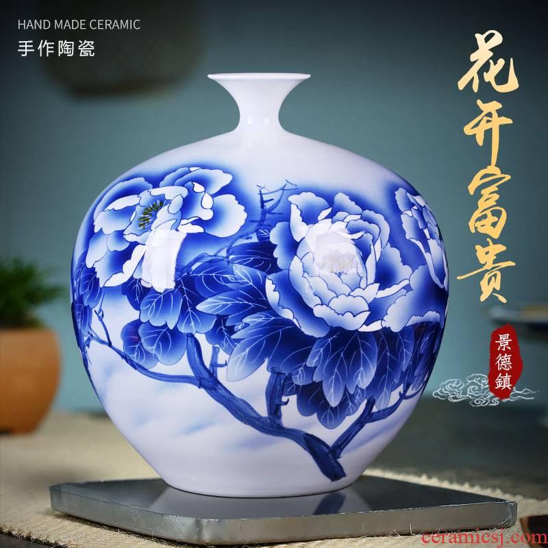 Jingdezhen ceramics hand - made vases sitting room pomegranate flower arranging large bottles of Chinese style household study TV ark, furnishing articles