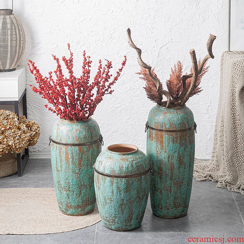Contracted and modern flower arrangement sitting room place jingdezhen ceramic vase landing coarse pottery dried flower flower implement Chinese pottery