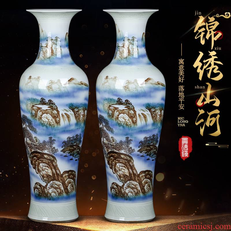 Jingdezhen ceramics of large vases, hand - made furnishing articles to heavy Chinese opening gifts large sitting room