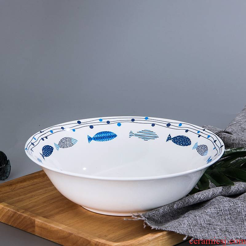 Qiao mu ceramic large soup bowl creative Japanese - style tableware jingdezhen porcelain 9 inches ipads soup bowl large household 8 inches