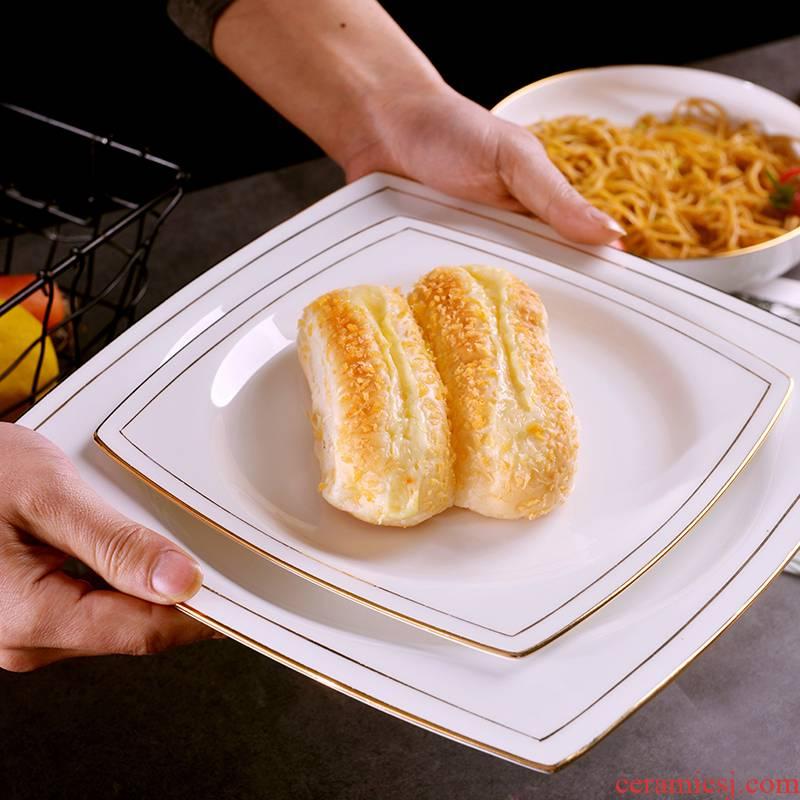 Jingdezhen ceramic checking gold 】 【 square plate creative European household Jin Bianping dish dish food dish