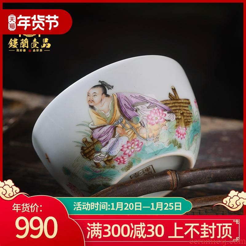 Jingdezhen ceramic all hand - made pastel YuanMing oi - Lin poetry masters cup kunfu tea, individual large single CPU