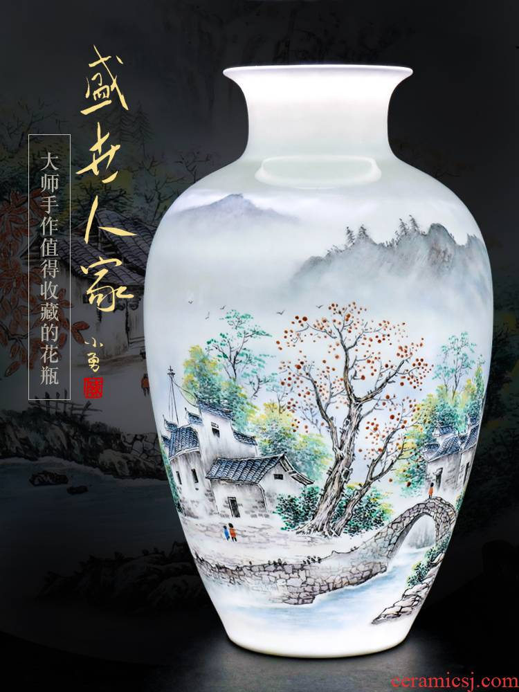 Jingdezhen ceramic furnishing articles hand - made big dried flower vase planting Chinese office sitting room porch decoration craft gift