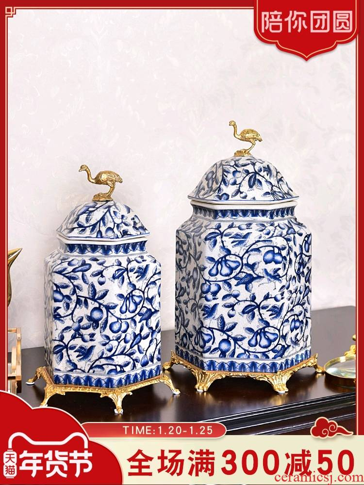 New Chinese style furnishing articles of blue and white porcelain ceramic with the receive cooper tank sitting room porch of TV ark, wine home decoration decoration