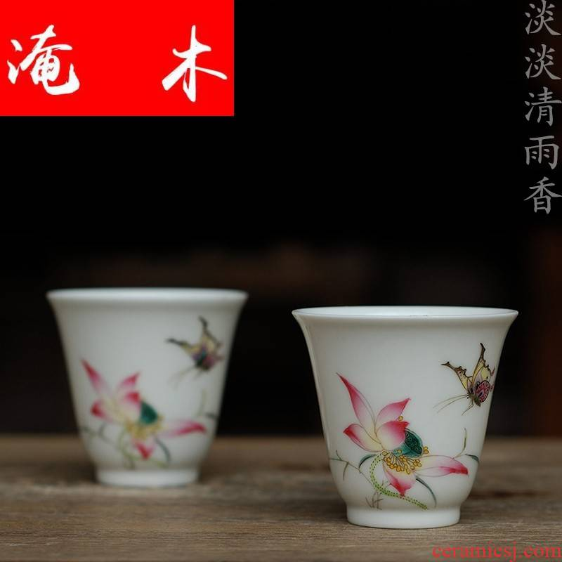 Submerged wood authentic hand - drawn powder enamel butterfly lotus fragrance - smelling cup of jingdezhen ceramic tea set sample tea cup tea cup by hand