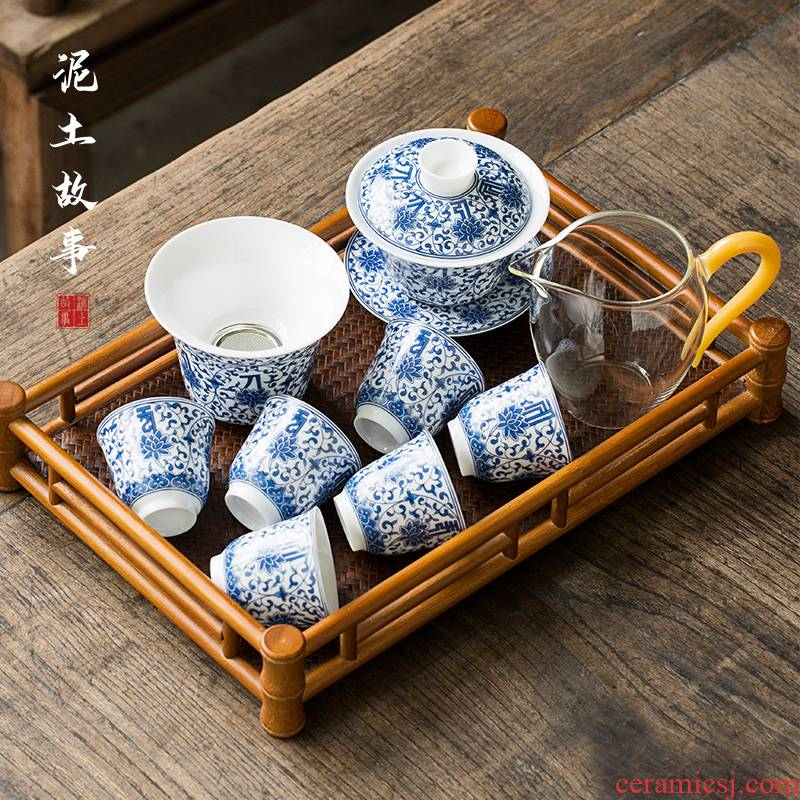Jingdezhen tureen tea set gift suit pure hand - made under glaze blue and white porcelain three cups of kung fu tea tea bowl