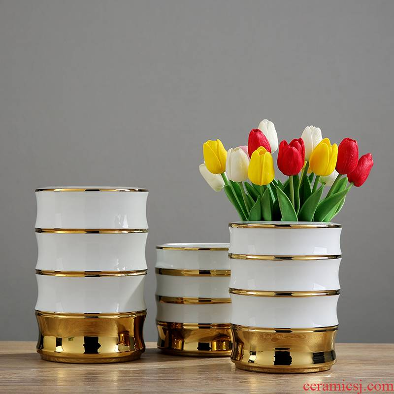 Northern wind jingdezhen ceramic vases, dried flowers, flower arrangement of three - piece of TV ark, wine cabinet decorative furnishing articles home decoration
