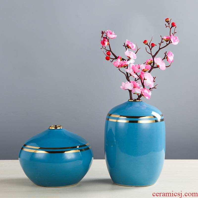 I and contracted ceramic household soft adornment blue vase electroplating furnishing articles sitting room porch TV ark, decoration