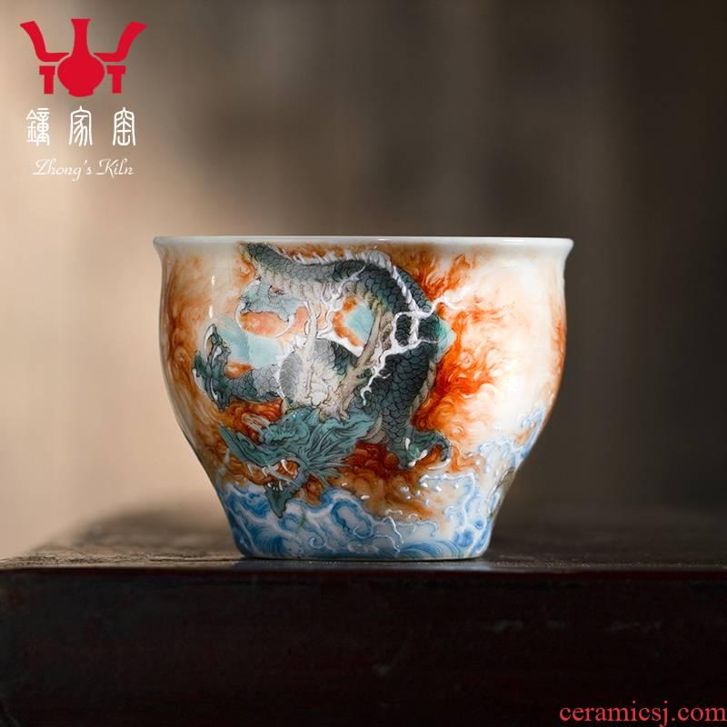 Clock home trade, one cup of jingdezhen ceramics kung fu tea set single CPU alum red dragon Luo Hanquan manual tea cups