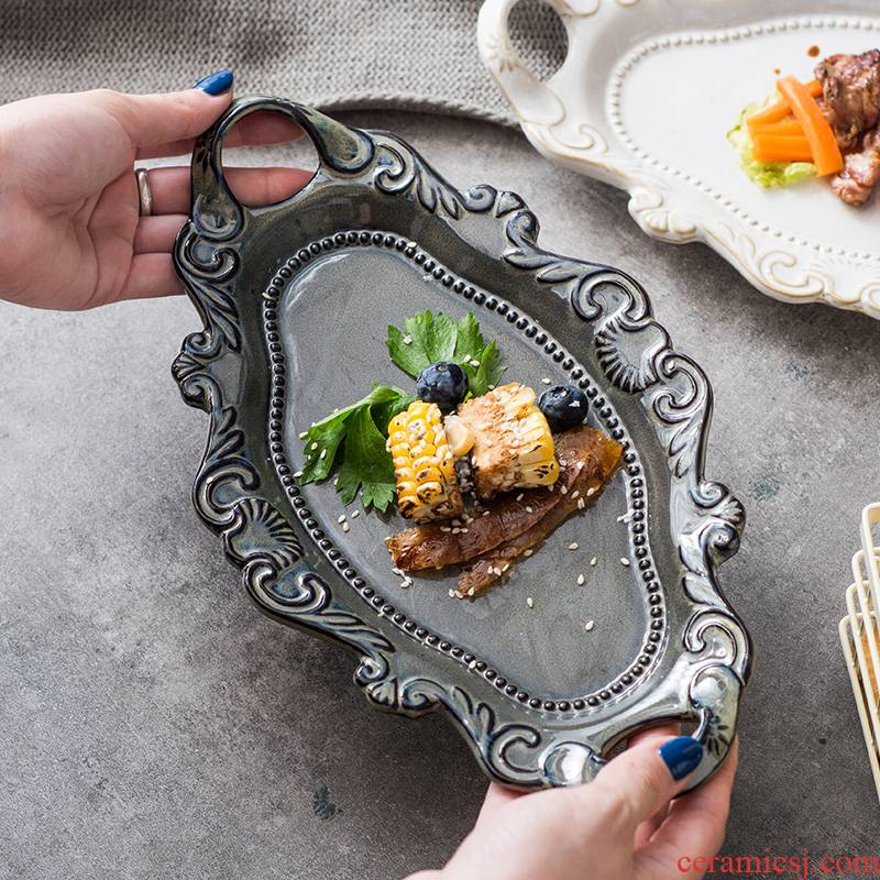 Western Europe type palace restoring ancient ways wind salad dessert plate ceramic ears sushi cake plate creative emboss tray