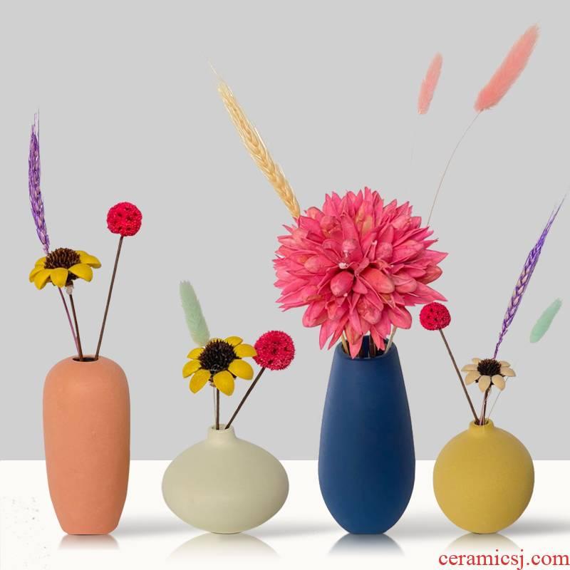 Nordic light wind creative key-2 luxury the scrub ceramic floret bottle desktop TV ark, dried flower arranging flowers sitting room adornment is placed
