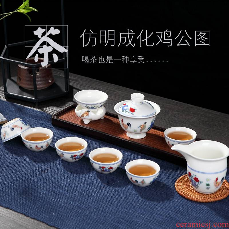 Ceramic tea set archaize cylinder cup chicken chicken male figure a complete set of kung fu tea cups with tureen teapot gift boxes