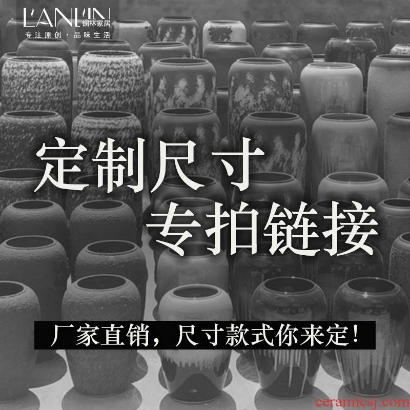 Jingdezhen ceramic vase made landing place small bottles table flower implement manual coarse pottery decoration decoration restoring ancient ways
