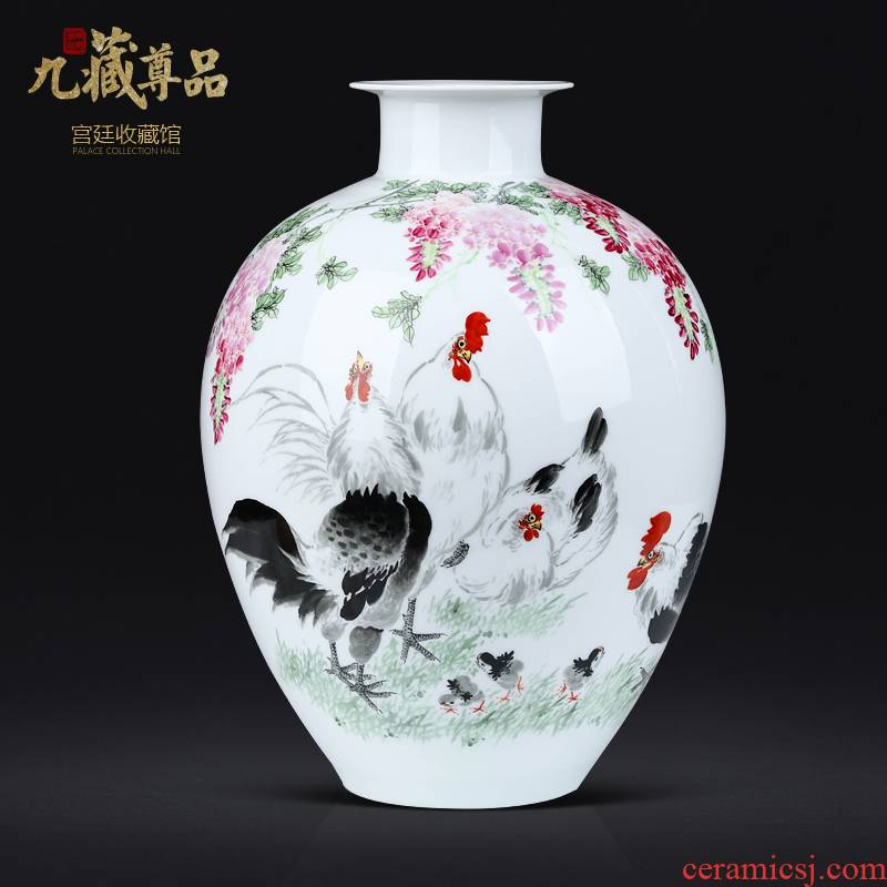 Chinese style of sitting room porch TV ark, vase master of jingdezhen ceramics hand - made rooster furnishing articles