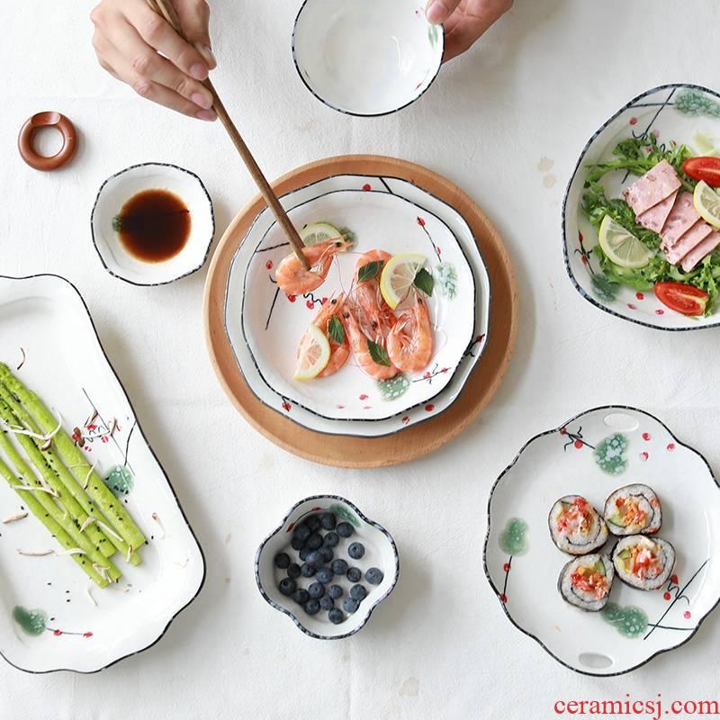 0 jingdezhen ceramic plate of creative contracted the household dumpling Japanese dish dish dish irregular northern Europe
