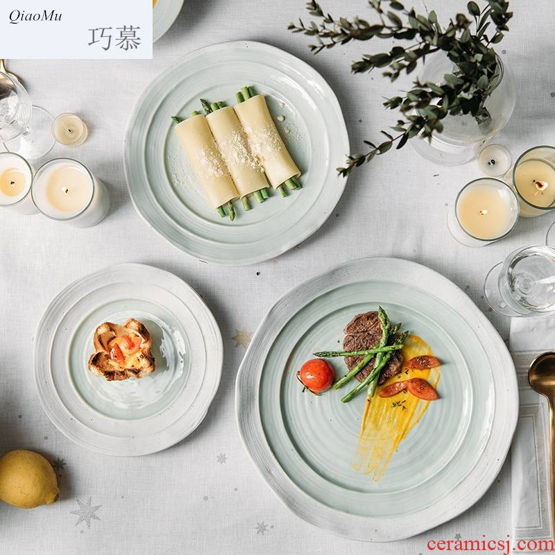 Qiam qiao mu 0 home the Nordic ceramic round big plate 12 inch pasta dish concise household mist