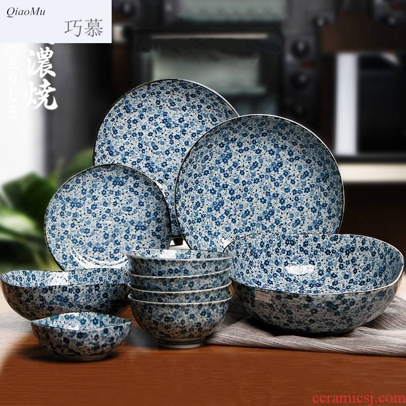 Qiao mu ceramic bowl dish dish cutlery set combination of household Japanese creative move household porcelain gifts four people