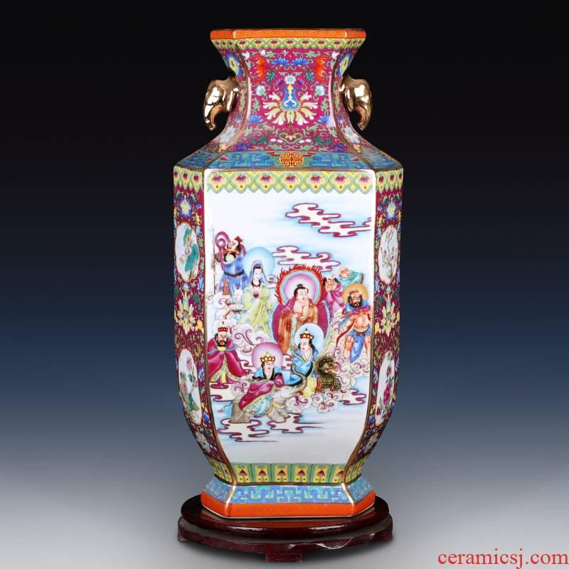Jingdezhen enamel colored powder made pottery porcelain vase household living room antiques all bottle qianlong furnishing articles of handicraft