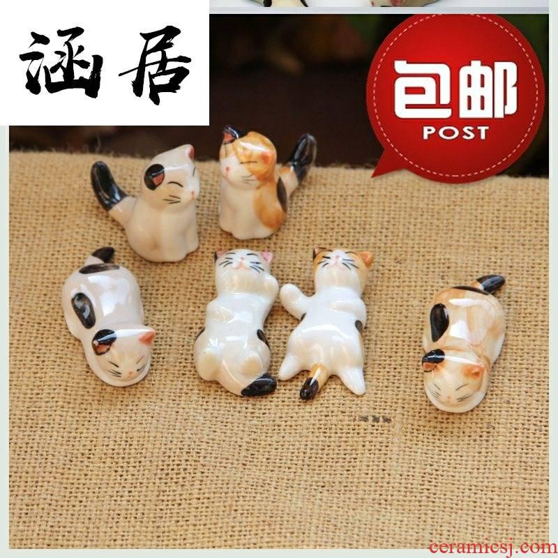 Japanese ceramics cat put tachyon tachyon aircraft hold drag put chopsticks holder chopsticks chopsticks pillow run doesn dual household