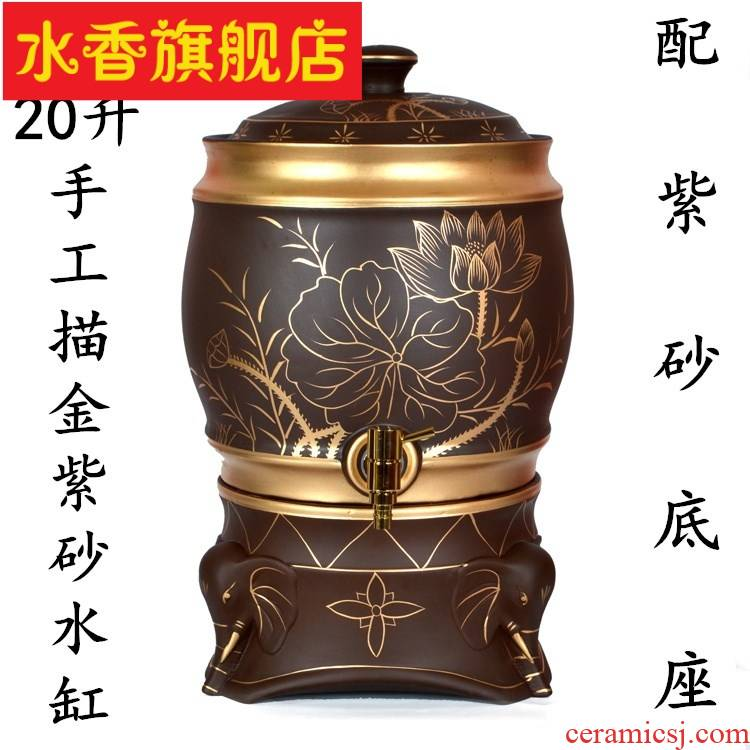 12 to 20 litres of large - sized purple sand tea storage tank with leading domestic water storage tank coarse ceramic bottles, barrels of pot