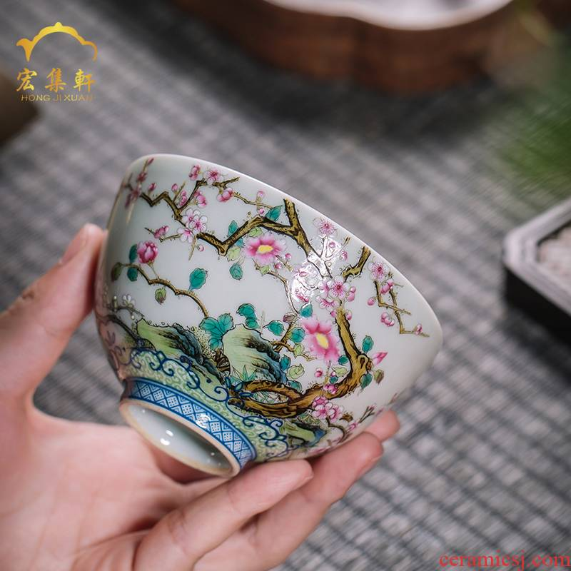 Colored enamel masters cup single jingdezhen checking flower kunfu tea cups small bowl is hand draw archaize sample tea cup