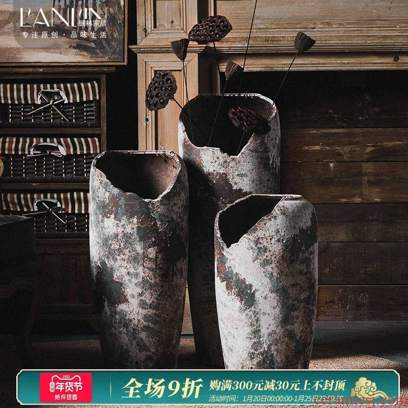 Dry flower decoration of Chinese style restoring ancient ways of large POTS coarse TaoQing storehouse furnishing articles sitting room flower arrangement of jingdezhen ceramic vase