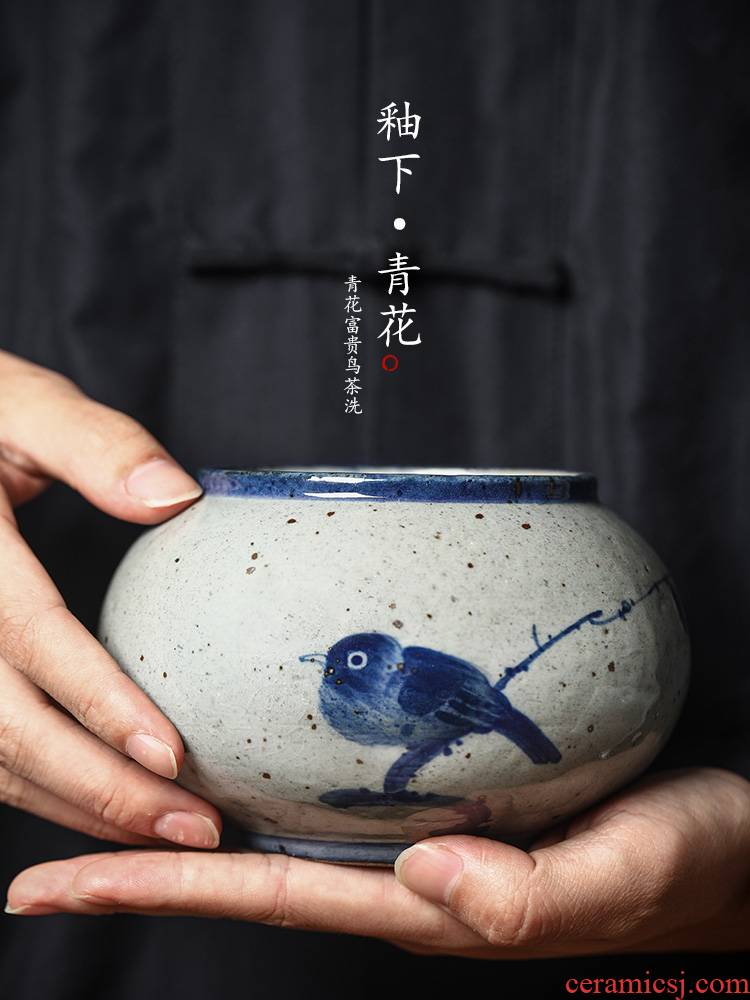 "Water jar for wash tea tea accessories ""four jingdezhen porcelain tea small hand - made ceramic calligraphy writing brush washer Water cheng, a bird"