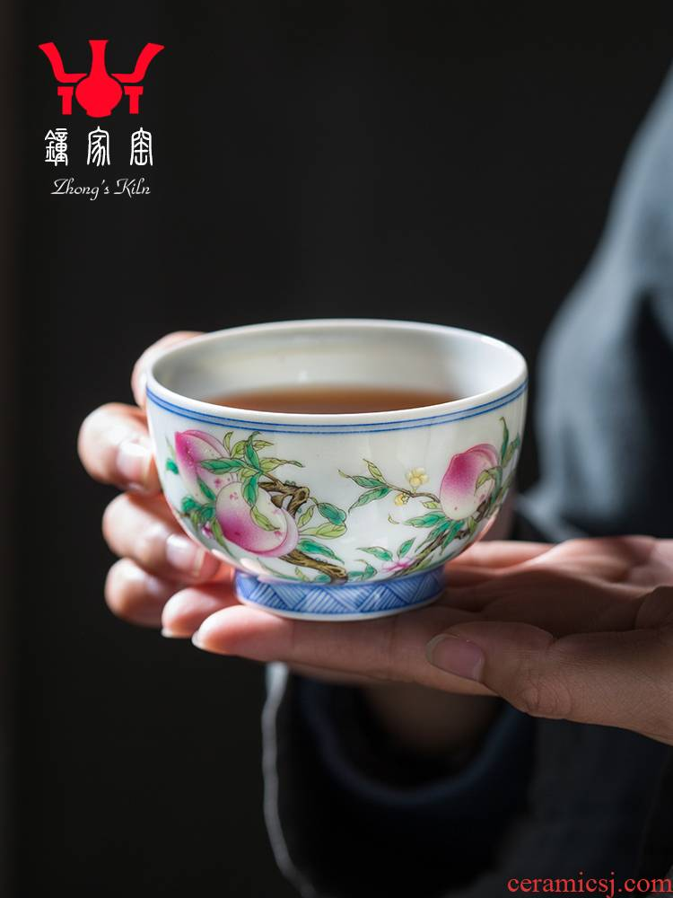 Clock home up hand - made ceramic cups pastel peach personal single cup sample tea cup jingdezhen porcelain kunfu tea master