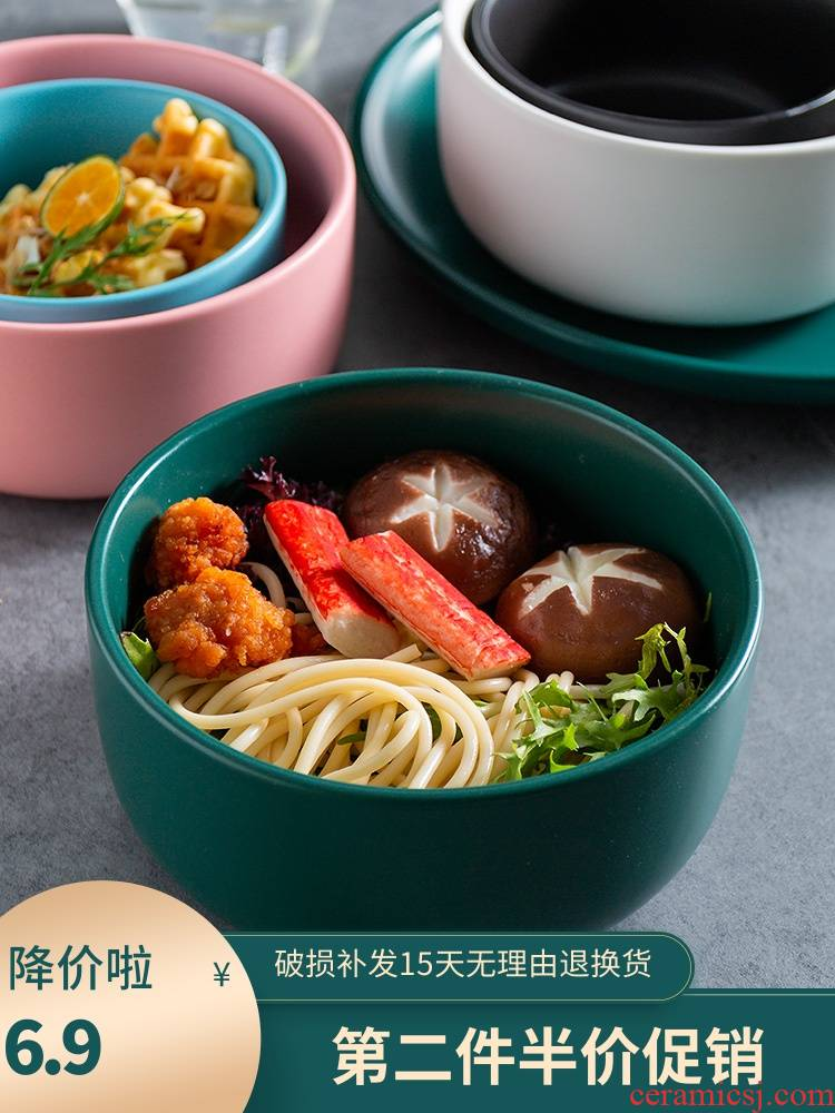 Scene for the Nordic creative ceramic matte enrolled soup bowl of salad bowl of thick soup bowl with rice bowls fa hai pot dishes