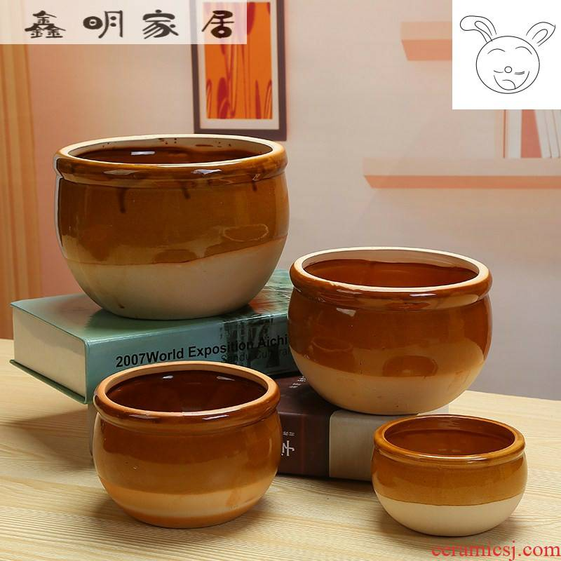 Water lily bowl lotus large ceramic flower pot cylinder copper money plant grass lucky bamboo without hole Water raise ceramic POTS