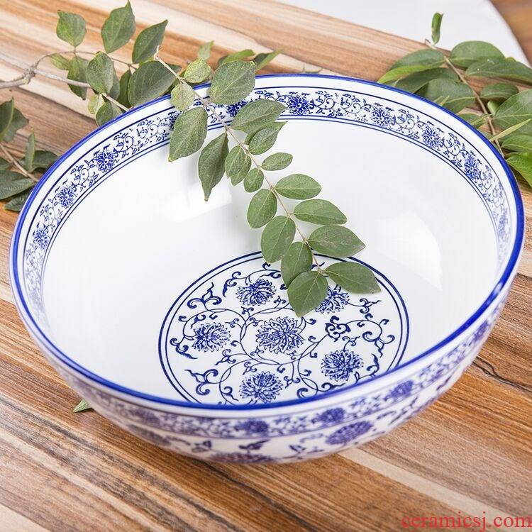Chinese blue and white porcelain hotel ceramic pickled fish bigger sizes large soup bowl noodles in soup bowl of pickled fish pot boiled fish bowl