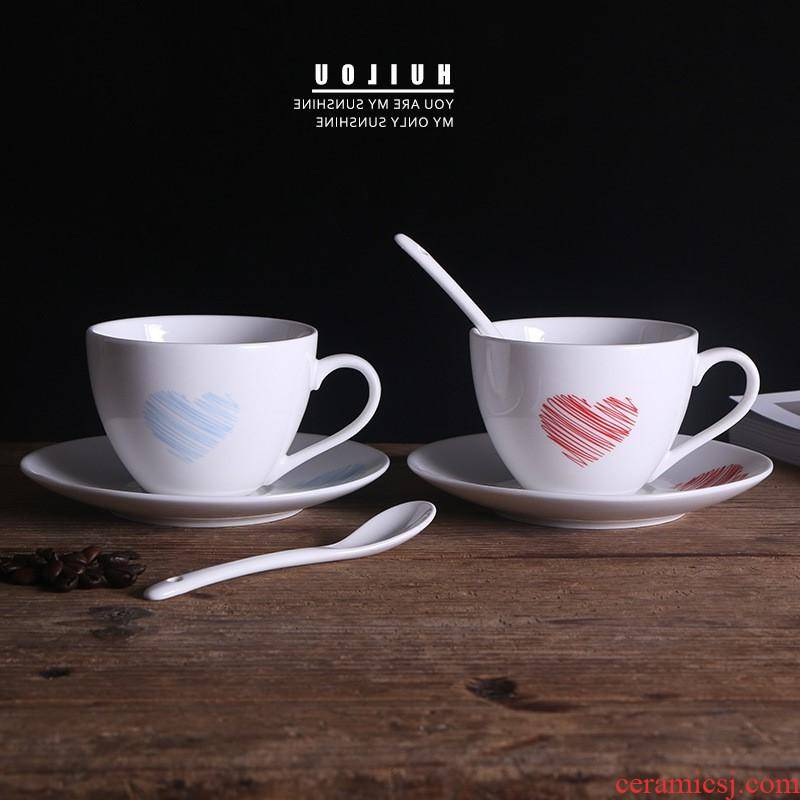 The kitchen creative ceramic keller cup hotel coffee cups and saucers spoons sets can be customized LOGO