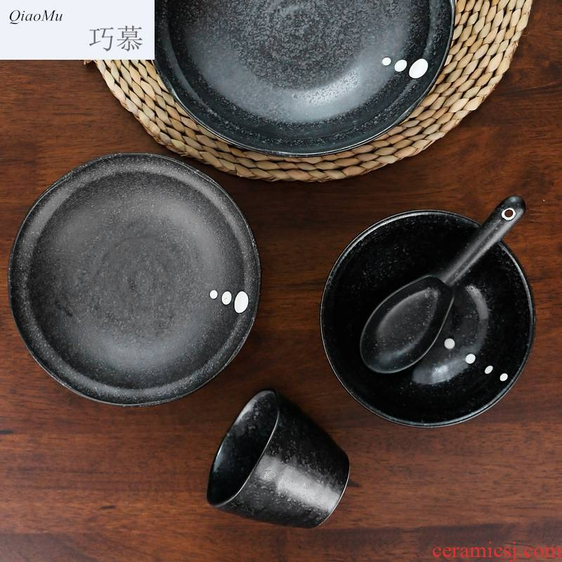 Qiao mu one food tableware suit Japanese ceramic dishes restoring ancient ways suit move cup spoon set of single feed plate