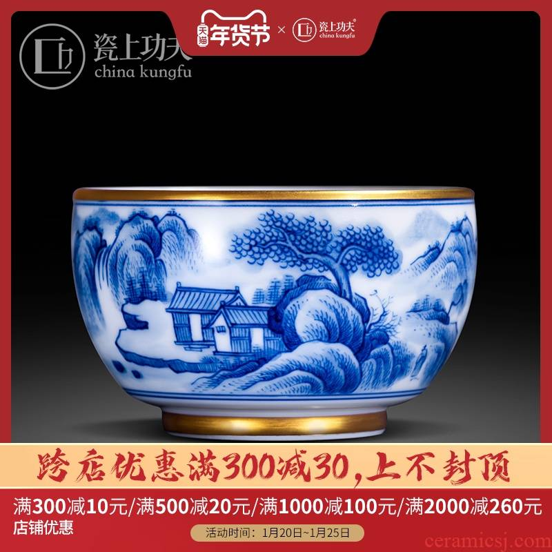 Jingdezhen blue and white landscape all hand pure hand - made xanadu sample tea cup masters cup kung fu tea cups