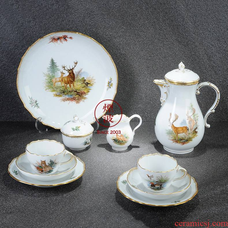 German mason MEISSEN meisen new clipping hunting coloured drawing or pattern the see colour porcelain coffee pot cup suit group
