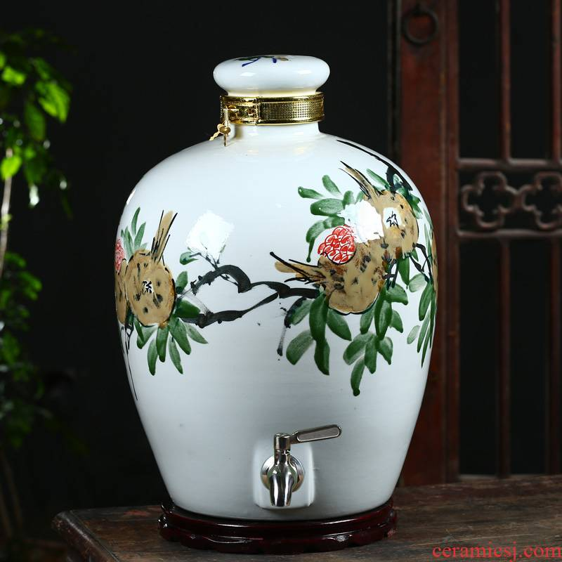 Hand - made ceramic jar of jingdezhen ceramic bottle 10 jins 30 jin wine VAT mercifully jars with leading 50 pounds