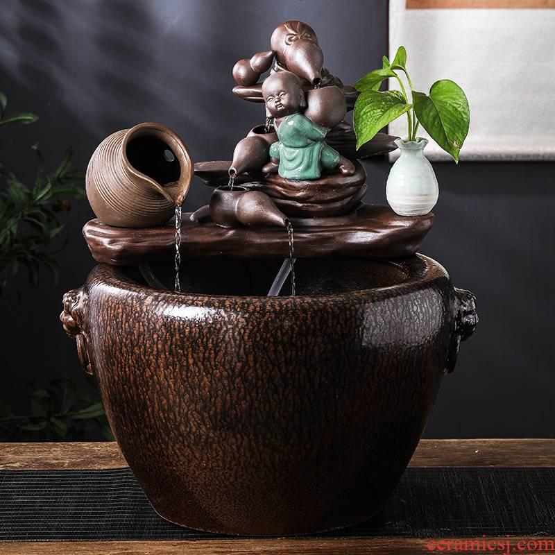Jingdezhen ceramic furnishing articles circulating water home sitting room balcony large water tank water landing fish bowl